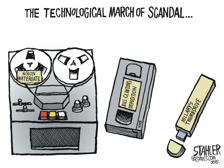 The Technological March of Scandal... A picture of Nixon's Watergate recorder, Bill Clinton's deposition on VHS tape, and Hillary's thumbdrive.