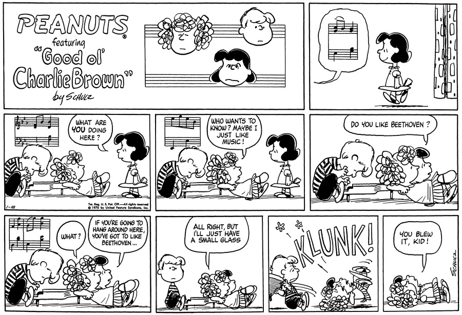 Peanuts Comic Strip for January 18, 1970