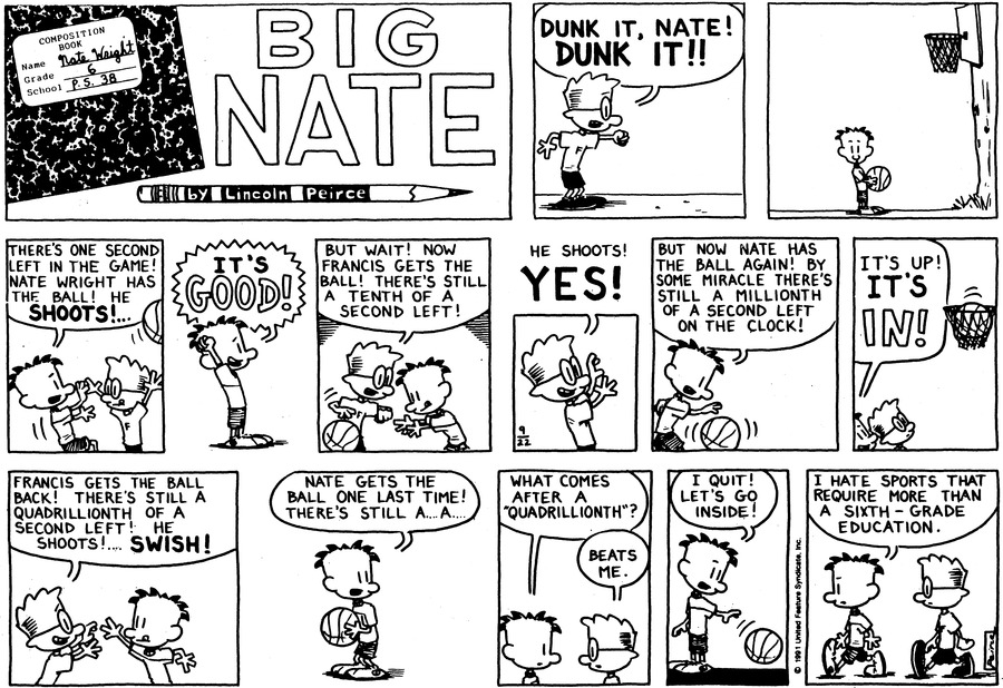 Big Nate: First Class Comic Strip for September 27, 2015