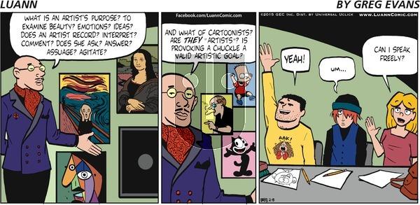 Luann on Sunday February 8, 2015 Comic Strip