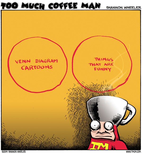 Too Much Coffee Man Comic Strip for February 10, 2014