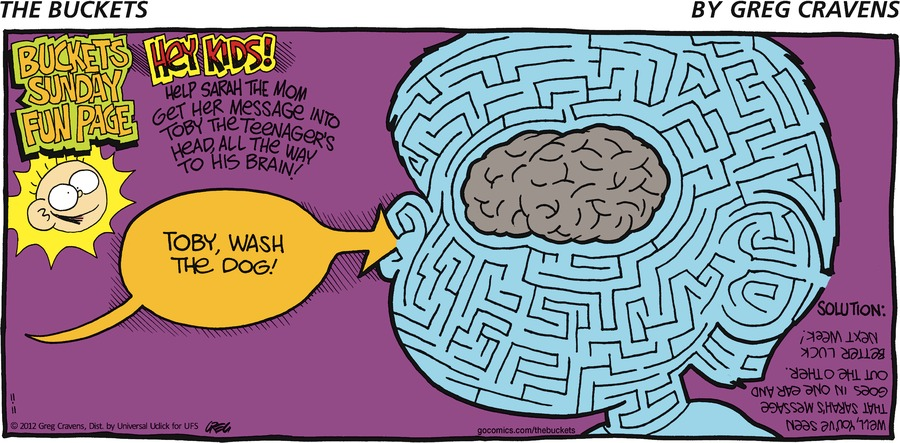 Buckets Sunday Fun Page hey kids! Help Sarah the mom get her message into Toby the teenager's head, all the way to his brain! Toby, wash the dog!