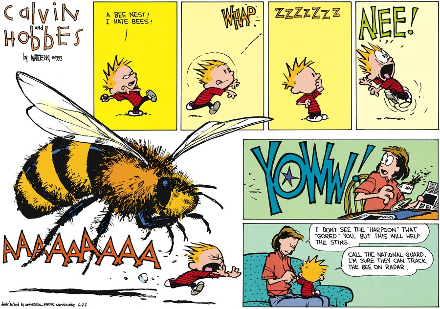 "Calvin: A bee nest! I hate bees! Aiee! Yoww! Mom: I don't wee the ""harpoon"" that ""gored"" you, but this will help the sting. Calvin: Call the national guard. I'm sure they can track the bee on radar."