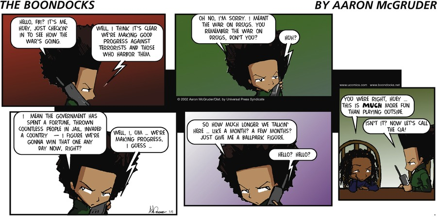 The Boondocks for Jan 6, 2002 Comic Strip