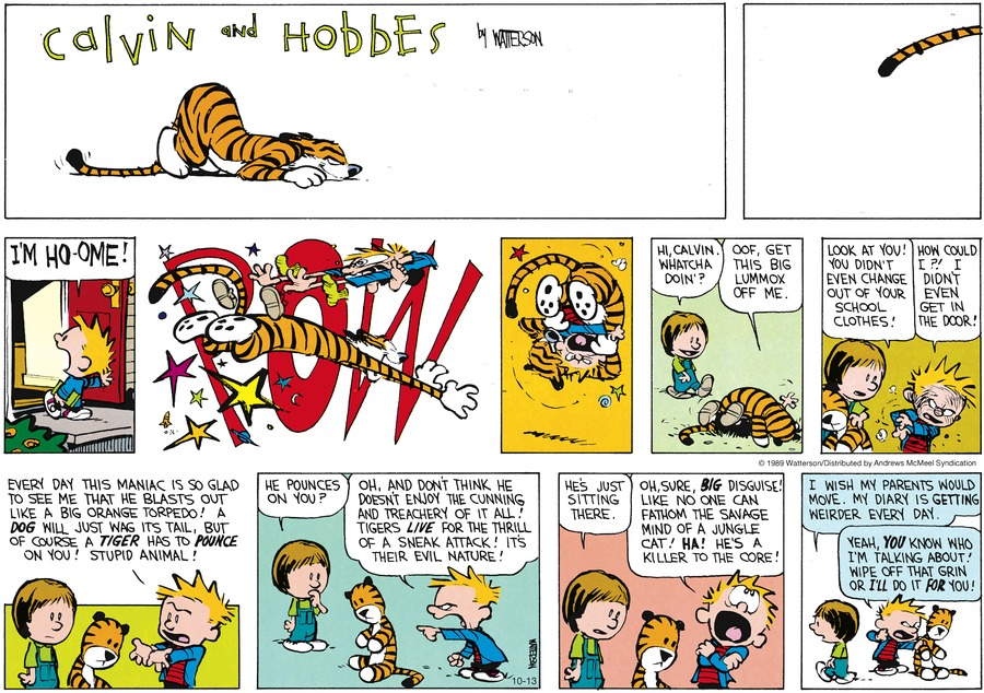 Calvin and Hobbes Comic Strip for October 13, 2019