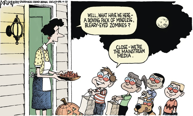 Woman: Well, what have we here- a revolving pack of mindless, bleary-eyed zombies? 