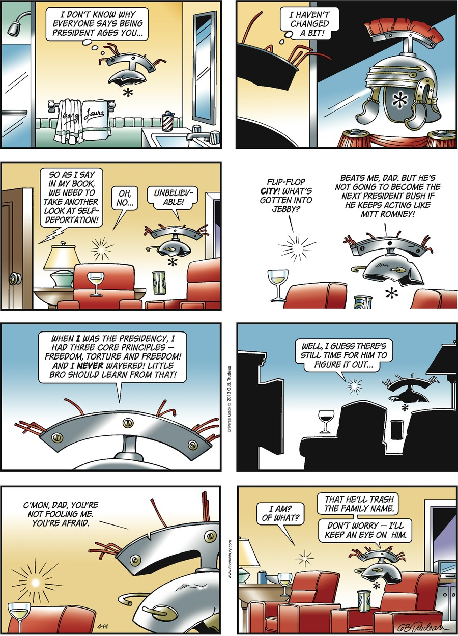 Doonesbury Comic Strip for April 14, 2013