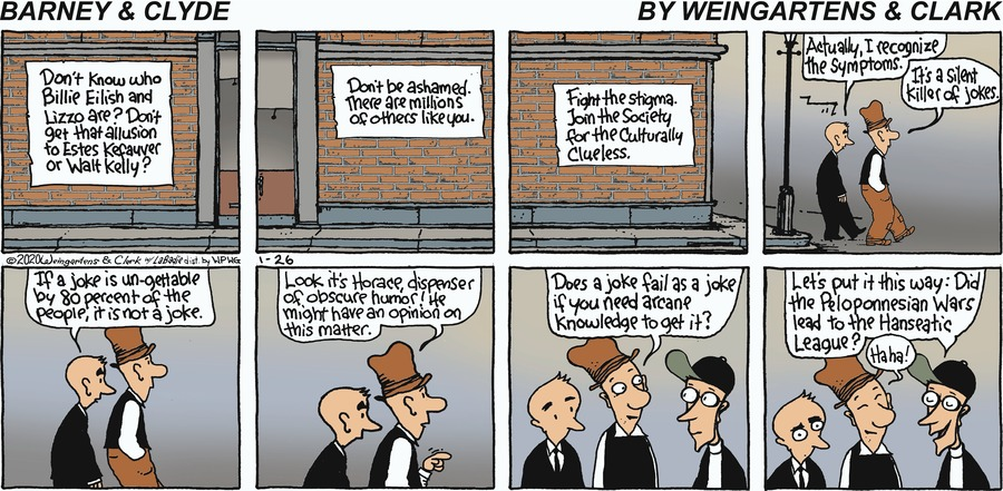 Barney & Clyde by Gene Weingarten, Dan Weingarten & David Clark on Sun, 26 Jan 2020