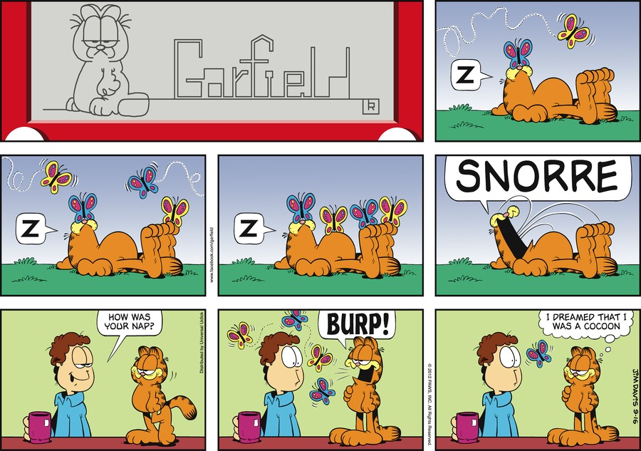 Garfield:  Z.  Z.  Z.  SNORRE.