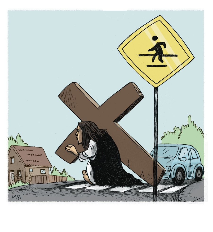Jesus Crossing the street