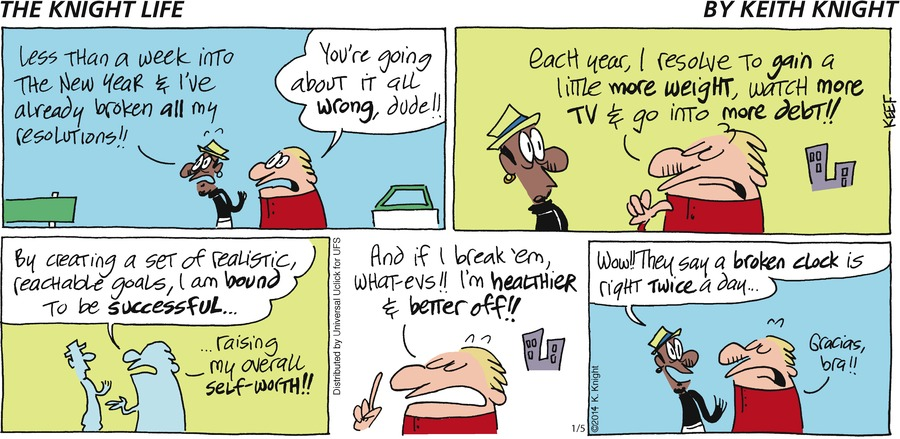 The Knight Life for Jan 5, 2014 Comic Strip