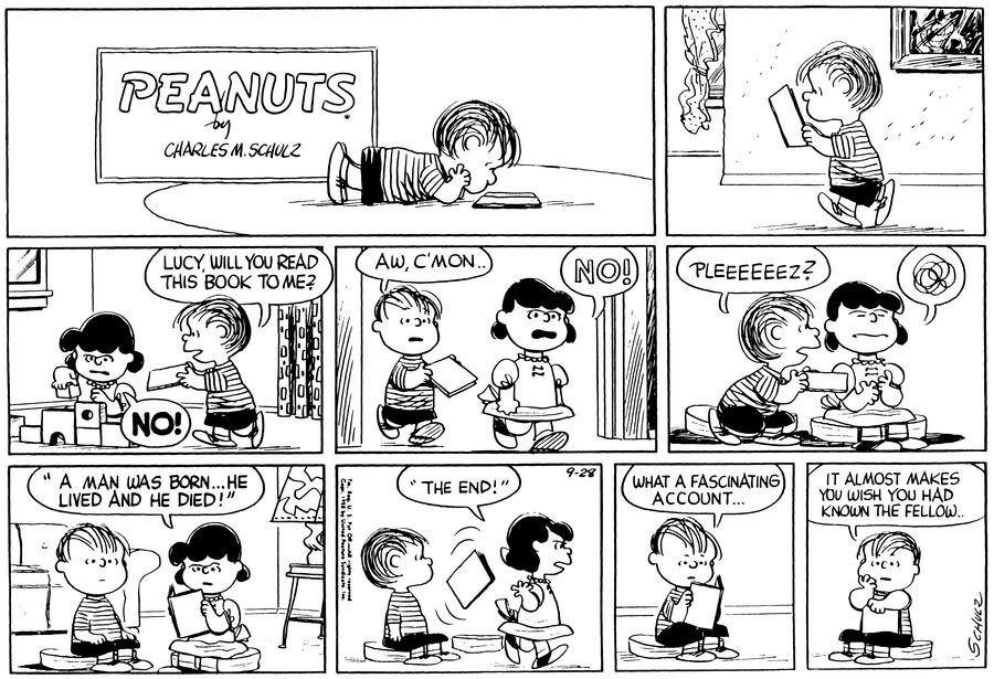 Peanuts Comic Strip for September 28, 1958
