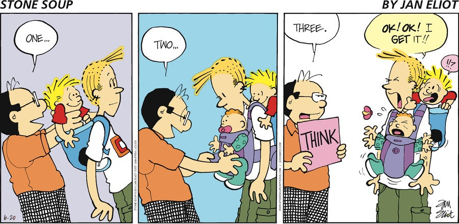 Stone Soup by Jan Eliot Wally: One... Wally: Two... Three. THINK Andy: OK! OK! I get it!! Max: !!?