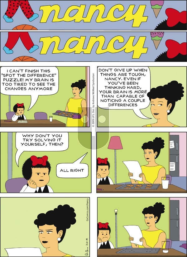 Nancy on Sunday August 25, 2019 Comic Strip
