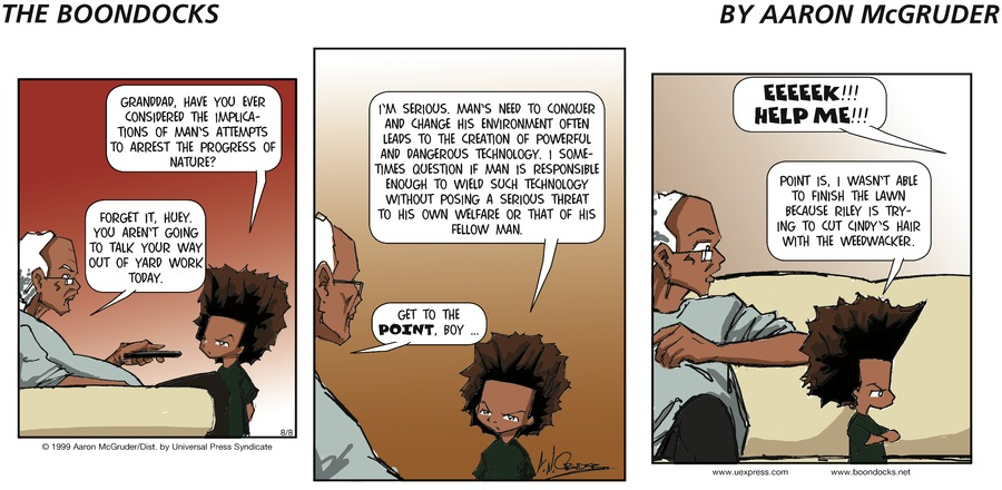 The Boondocks Comic Strip for August 08, 1999