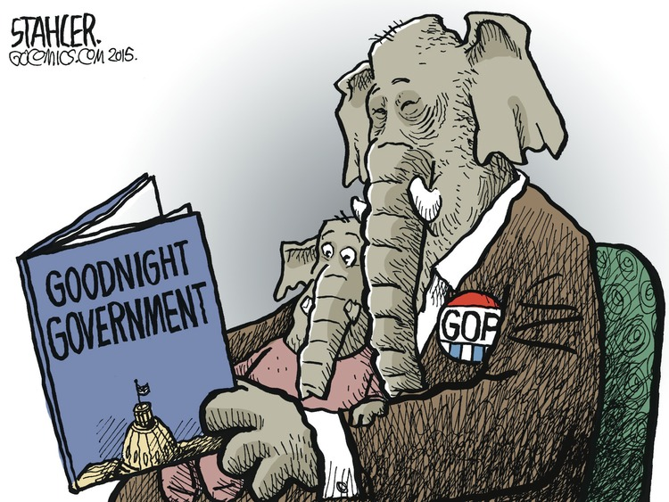 "A republican reads to his child. The book is titled ""Goodnight Government."""