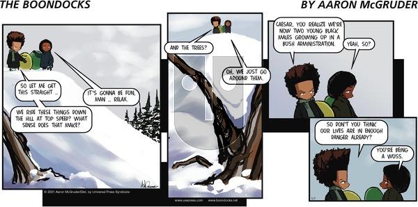 The Boondocks on Sunday January 7, 2001 Comic Strip