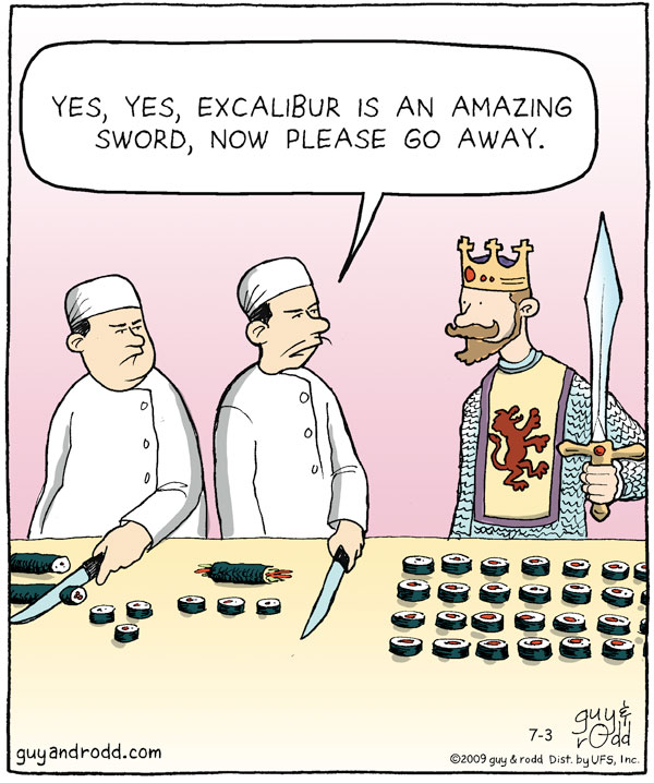 "Man says, ""Yes, yes, excalibur is an amazing sword, now please go away."""