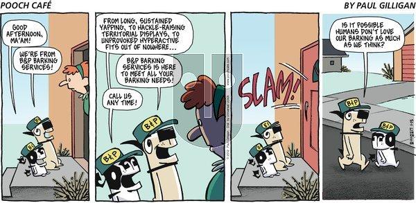 Pooch Cafe on Sunday January 15, 2012 Comic Strip