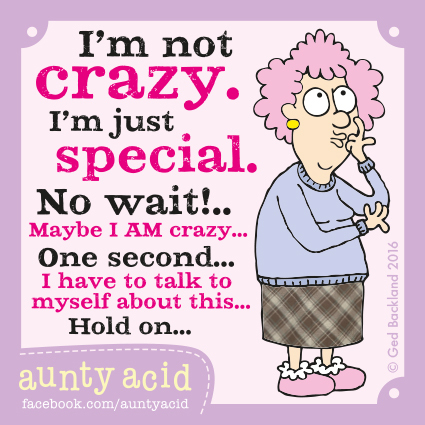 I'm not crazy. I'm just special. No wait! Maybe I AM crazy... one second... I have to talk to myself about this... Hold on...