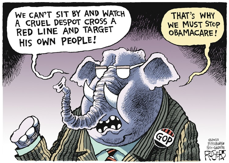 GOP: We can't sit by and watch a cruel despot cross a red line and target his own people!  That's why we must stop Obamacare!