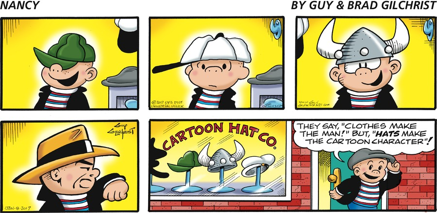 """Sluggo: They say,""""clothes make the man!"""" But,""""HATS make the cartoon character""""! Store window reads: CARTOON HAT CO."""