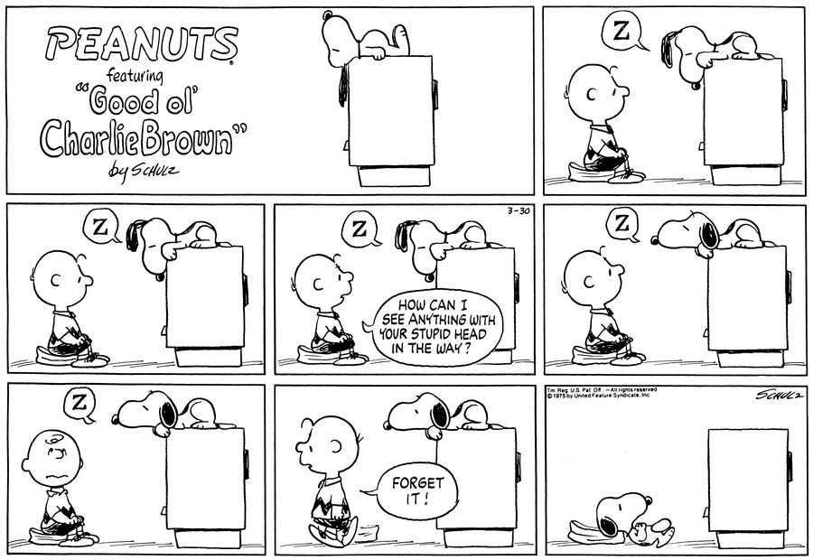 "Snoopy sleeps on top of the TV while Charlie is watching. Snoopy's ears cover the screen a bit.<BR><BR> Snoopy rolls around while Charlie watches TV.<BR><BR> Charlie asks, ""How can I see anything with your stupid head in the way?""<BR><BR> Snoopy lifts his head up and sleeps.<BR><BR> Snoopy still sleeps with his head up. Charlie gets frustrated.<BR><BR> Charlie gets up to see and says, ""Forget it!""<BR><BR> Snoopy takes Charlie's spot and watches TV.<BR><BR>"