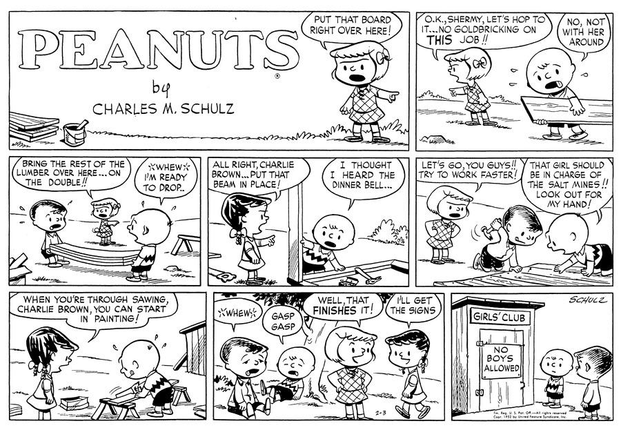 Peanuts Comic Strip for February 03, 1952