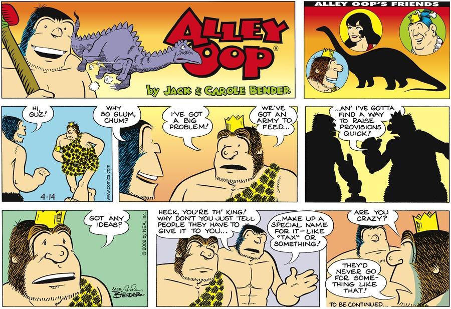Alley Oop for Apr 14, 2002 Comic Strip