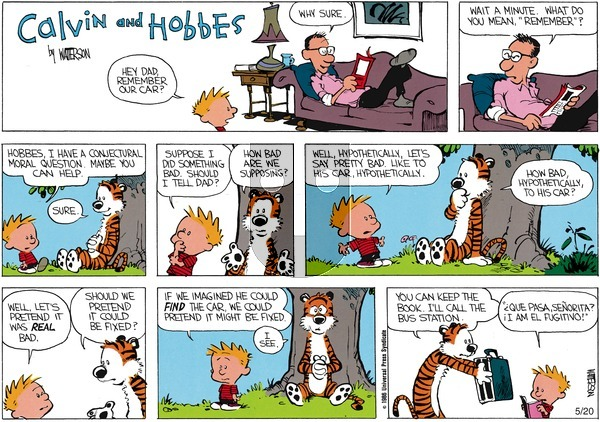 Calvin and Hobbes - Sunday April 13, 1986 Comic Strip