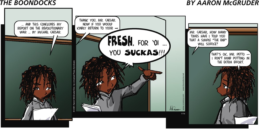 The Boondocks for Jan 14, 2001 Comic Strip