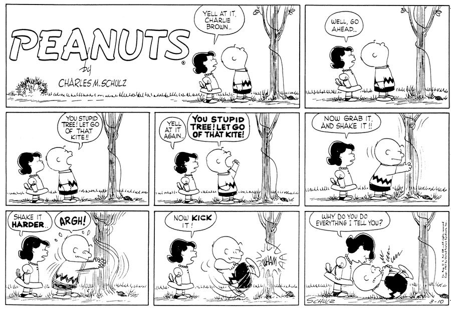Peanuts Comic Strip for March 10, 1957
