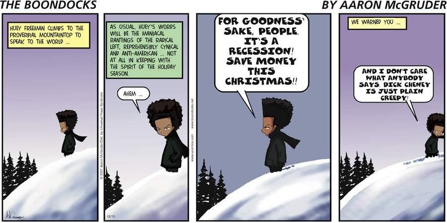 The Boondocks Comic Strip for December 16, 2001