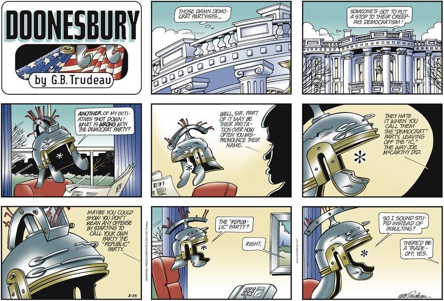 Doonesbury Comic Strip for February 25, 2007