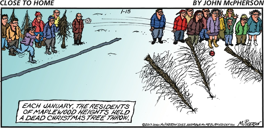 Each January, the residents of maplewood heights held a dead Christmas tree throw.