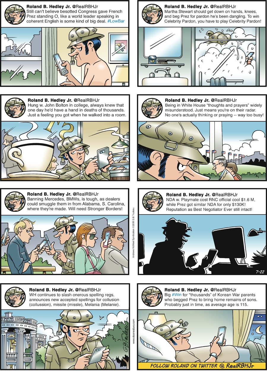 Doonesbury Comic Strip for July 22, 2018