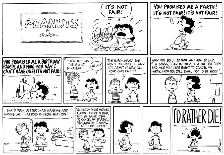 Peanuts Comic Strip for April 07, 1963