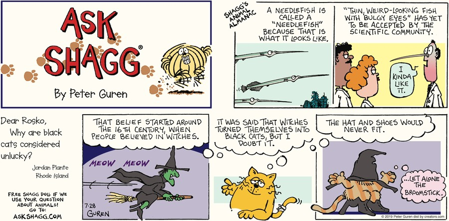 Ask Shagg by Peter Guren for July 28, 2019