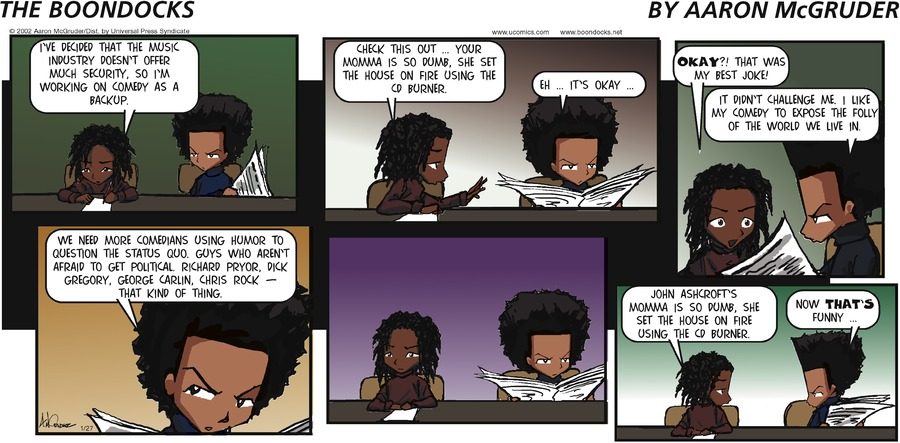 The Boondocks for Jan 27, 2002 Comic Strip