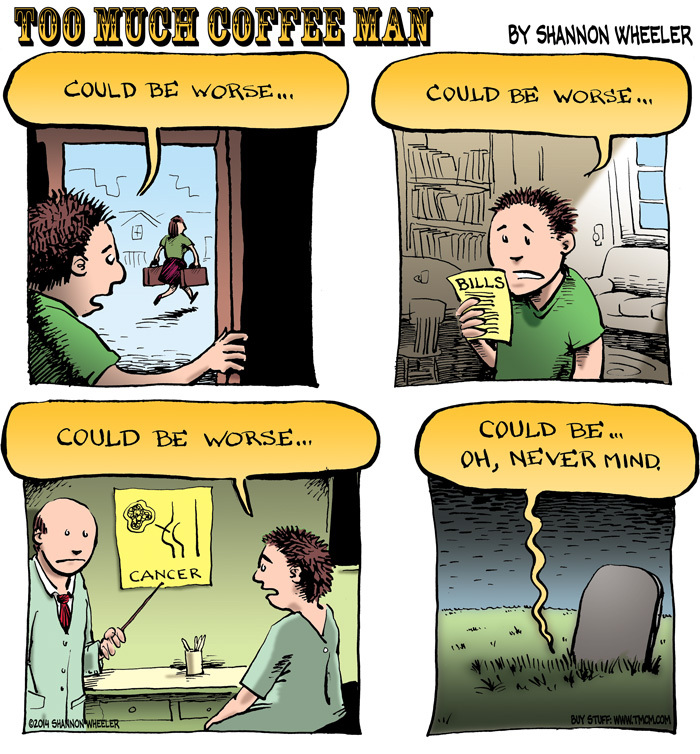 Too Much Coffee Man Comic Strip for December 03, 2014