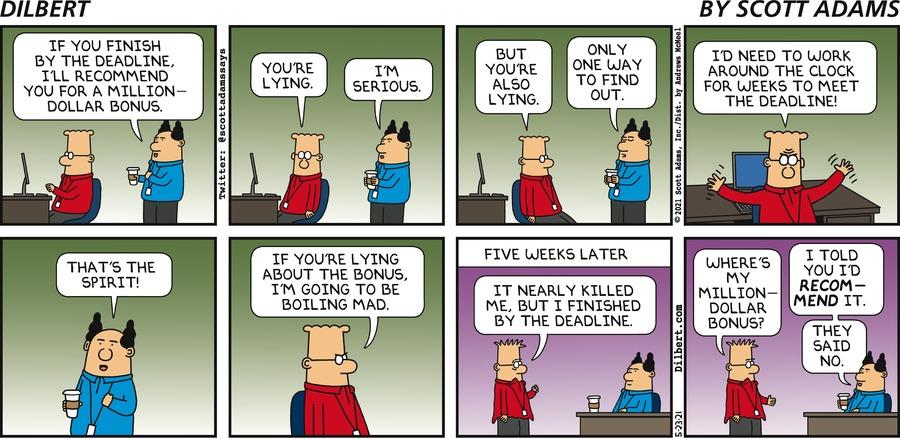 Million Dollar Bonuses - Dilbert by Scott Adams