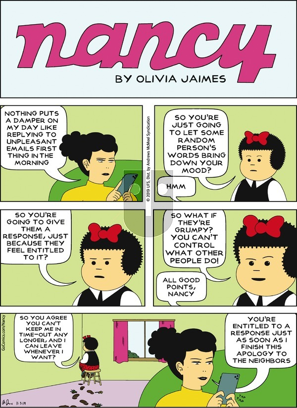 Nancy on Sunday November 3, 2019 Comic Strip