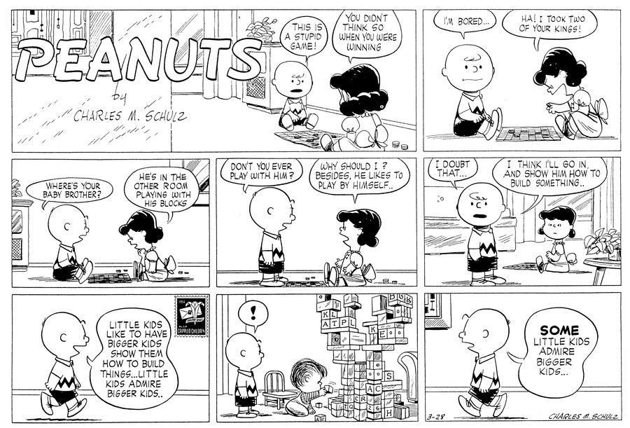 Peanuts for Mar 28, 1954 Comic Strip