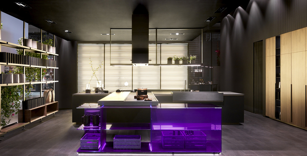 The pervasiveness of Pantone's' 2018 Color of the Year, Ultraviolet, even surfaced as a bold statement from the Italian manufacturer Effeti, which showed it in acrylic as an island in its booth at April's EuroCucina in Milan. Also notable is the open shelving, seen everywhere, to bridge living spaces.
