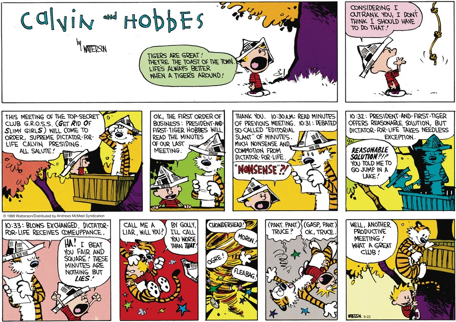 Calvin and Hobbes by Bill Watterson for September 22, 2019