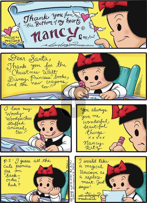 Nancy on Sunday January 7, 2018 Comic Strip