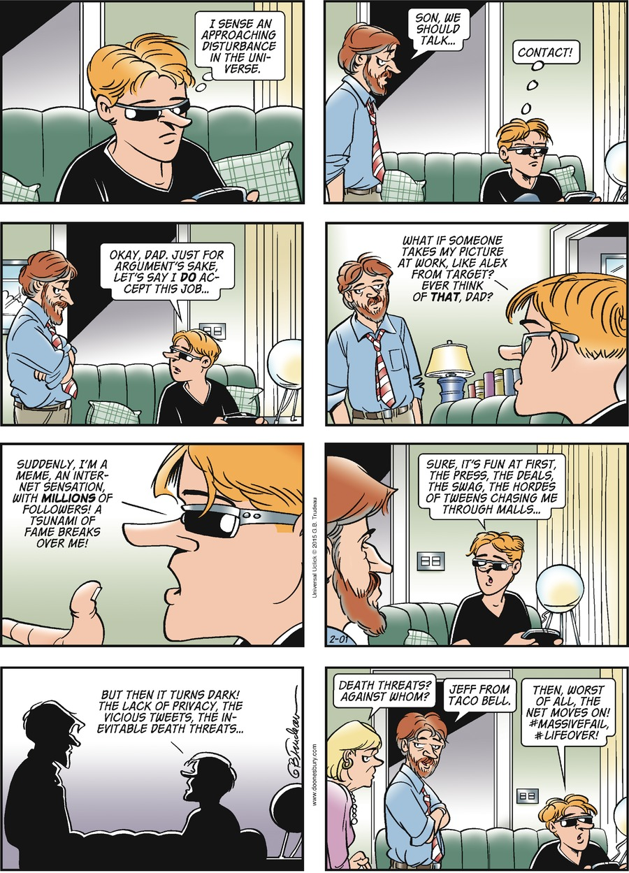 Doonesbury Comic Strip for February 01, 2015