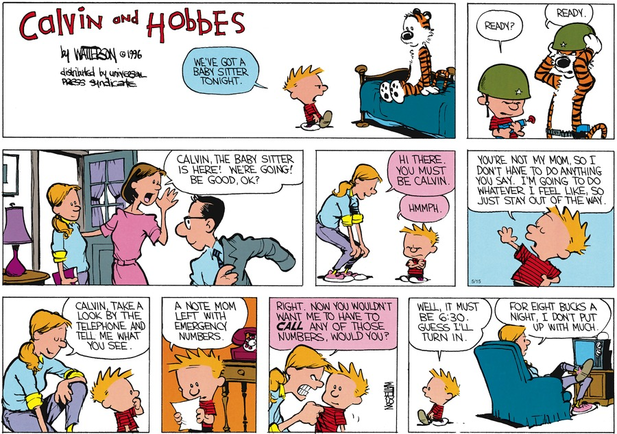 Calvin and Hobbes Comic Strip for May 15, 2016
