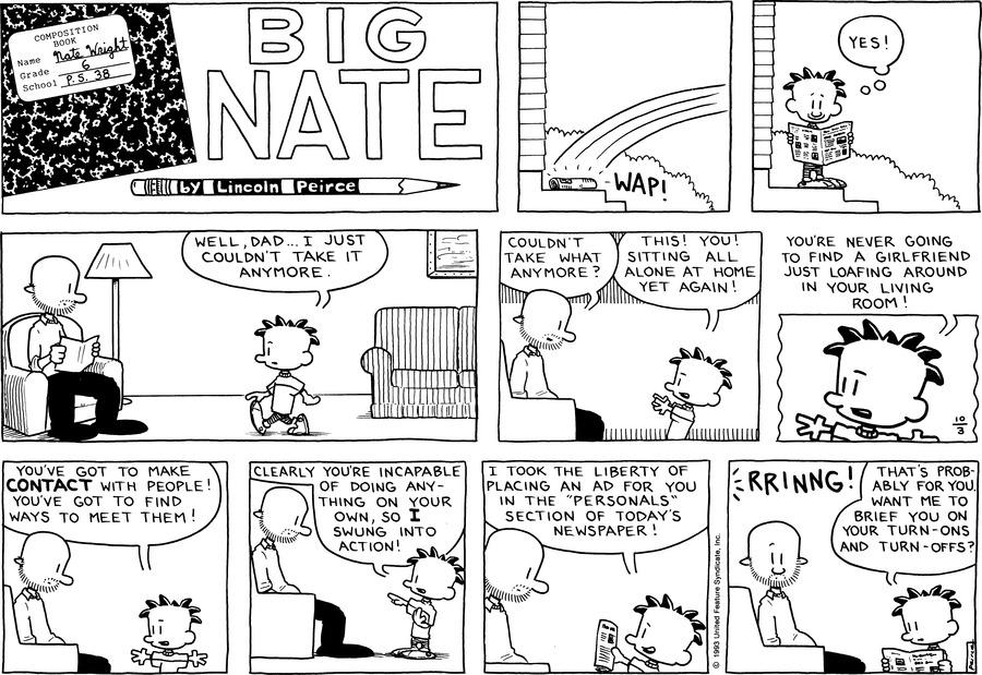 Big Nate Comic Strip for October 03, 1993