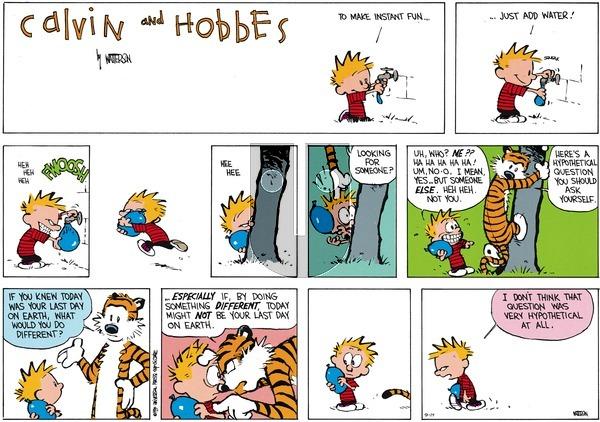 Calvin and Hobbes on Sunday September 14, 2014 Comic Strip
